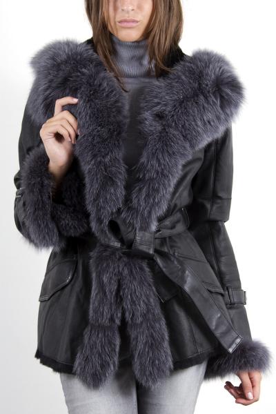 manteau cuir fourrure nabilla