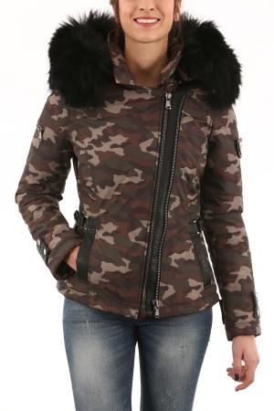 VENTIUNO Sofia Camouflage GROSSE FOURRURE Noir
