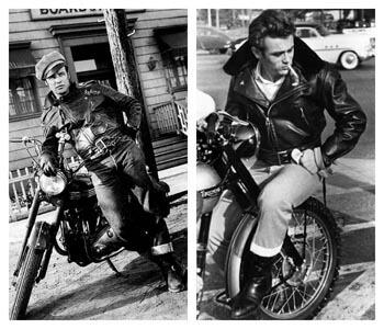 Marlon Brando et James Dean en perfecto cuir